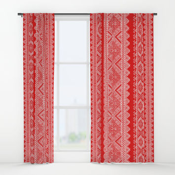 Ukrainian embroidery red and white Window Curtains by exobiology