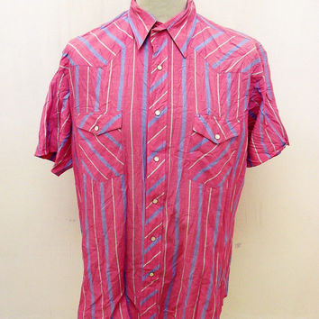Retro Pink Striped Cowboy Western Shirt XL