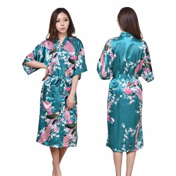 2017 Women Ladies Sexy Floral Satin Silk Kimono Bathrobe Bridesmaid Night Gown Japanese Lingeries Sleepwear Bath Robe Plus Size