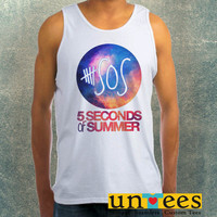 5 Seconds of Summer Logo on Galaxy Clothing Tank Top For Mens