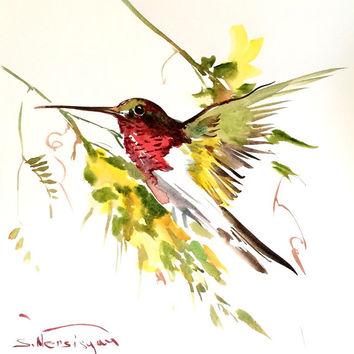 Flying Hummingbird, Original watercolor painting, 11 x 11 in, hummingbird lover art, hummingbird