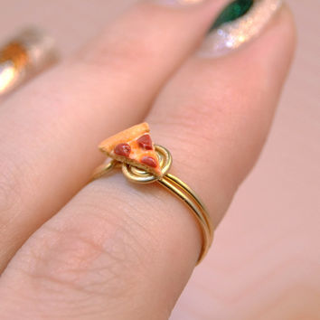 Pepperoni Pizza Slice Handmade Midi Ring - Slice of Pepperoni Pizza Knuckle Ring