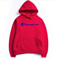 Champion couple sets the head sweater couple models Plus velvet hooded sweater simple printing class service