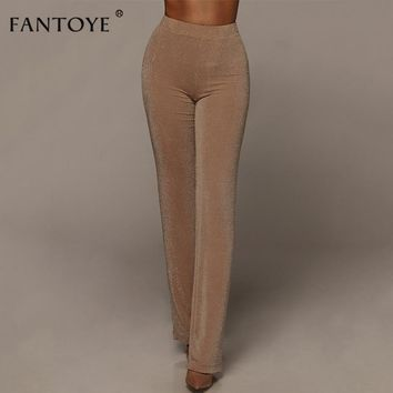 Beige Sparkle High Waist Pants