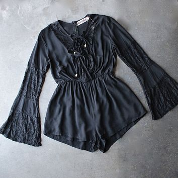 reverse - bell sleeves lace up front romper with lace - black