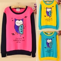 Women Fashion Winter Fleece Tops Crew Neck Long Sleeve Owl Sweats Patchwork Coat