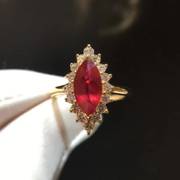2.107ct+0.580ct 18K Gold Natural Ruby Women Ring with Diamond Setting 2016 New Fine Jewelry Wedding Band Engagement