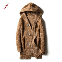 Men Autumn Winter Casual Cardigan Sweater Loose Fit Knitting Sweaters Warm Knitting Clothes Sweater Coats Men solid mens sweater