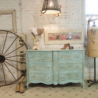 Painted Cottage Chic Shabby Aqua French Dresser DR39