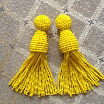 Summer Sale Long beaded tassel earrings - clip on earrings- yellow dangle earrings- statement beaded earrings- fringe -bridesmaid earrings