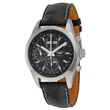 Longines Conquest Classic Automatic Black Dial Black Leather Mens Watch