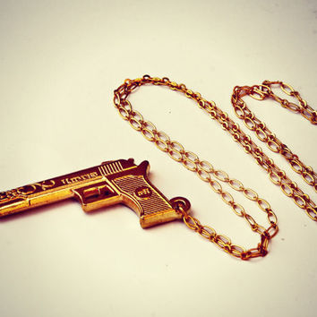 gold shotgun necklace, long gold necklace, punk rock accessory, kitsch necklace, long necklace