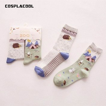 [COSPLACOOL] Winter creative novelty japanese Harajuku kawaii cute animal socks cartoon lovely hedgehog pattern socks women