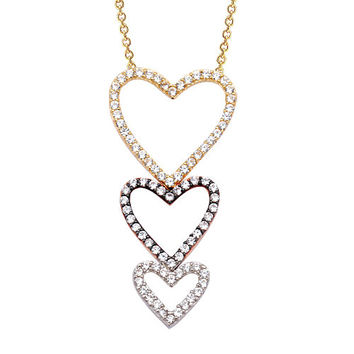 Three Heart 14k Solid Gold Necklace White Gold Yellow Gold Rose Gold Best Price