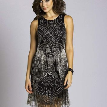 Lara Dresses - 33577 Bejeweled Fringe Cocktail Dress