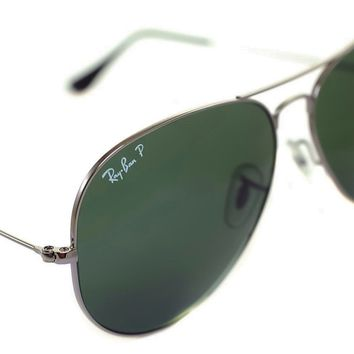 Ray-Ban AVIATOR POLARIZED RB3025 004/58 62mm Sunglasses XL LARGE GUNMETAL GREEN