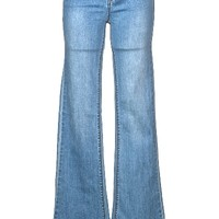 Show off your 70's look in the Mid Rise Flare Jeans. These high-waisted jeans feature stretch denim, single zip fly with button tab closure, belt loops around waist, 5 pockets, fit and flare bell bottom, and finished with stitching detail. Pair with croche