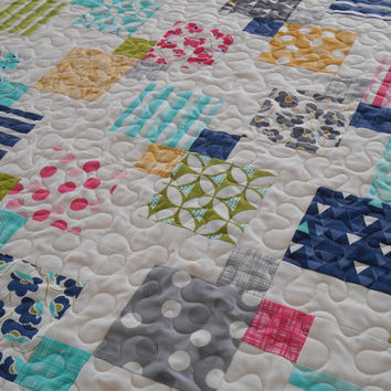 Modern Baby Quilt in Moda's Color Theory, Baby Girl Quilt, Quilts for Baby Girls, Aqua Pink Yellow and Gray, Toddler Quilt