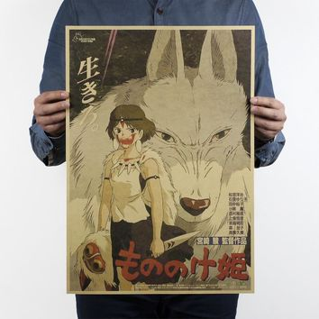 Miyazaki Hayao comic/Princess Mononoke/Classic nostalgia/kraft paper/Cafe/bar poster/ Retro Poster/decorative painting 51x35.5cm
