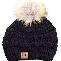 ScarvesMe CC Solid Ribbed Beanie with Fur PomPom (Black)