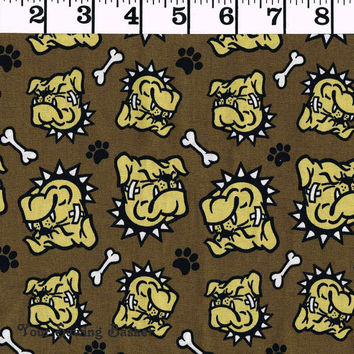 Bulldog Print Cotton Fabric, Quilters Cotton Fabric, Quilting Farbic, Rebel by Douglas Day, Freespirit Westminster Fibers, sold by the yard