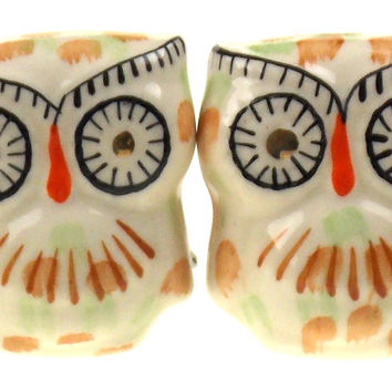 "4 Decorative Ceramic Textured Owl Cabinet Drawer Knobs 2"" White Hardware Kitchen"
