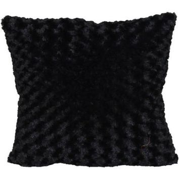 "Better Homes and Gardens Rosette Fur Decorative Toss Pillow 18""x18"", Black - Walmart.com"