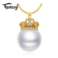 925 Sterling Silver 18K Yellow Gold Crown Pearl Pendant Necklace