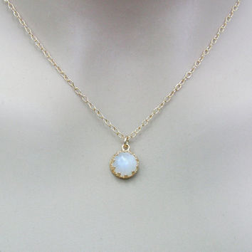 Moonstone gold necklace. Gold gem necklace. gift for her, gold necklace, moonstone necklace, moonstone jewelry.