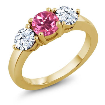 2.50 Ct Round Pink Mystic Topaz 18K Yellow Gold Plated Silver Ring