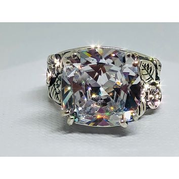 A Flawless Handmade Floral Leaf 6.2CT Cushion Cut Lab Diamond Engagement Ring