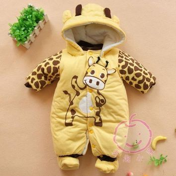 Baby Boys And Girls Jumpsuit Animal Giraffe Print Romper Cotton Padded Clothes = 1930072068