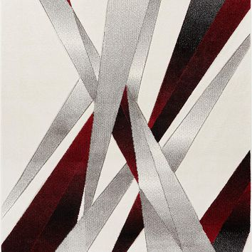 7022 White Red Hand Carved Contemporary Area Rugs