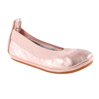 Yosi Samra Metallic Leather Flats - YSKDMT - Rose Gold  - FINAL SALE