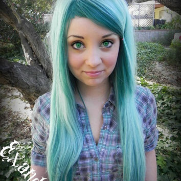 Curious / Light Blue and Emerald Green / Long Straight Layered Wig