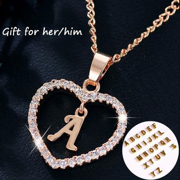 BeUrSelf Capital Initial Necklace Love Heart Custom Name 26 Letters Alphabet Gold Color Fashion Jewelry for Women Mother Lover