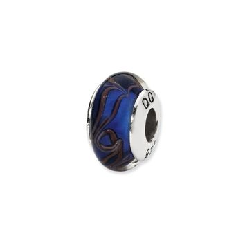 Blue, Brown Swirl Hand-Blown Glass Bead & Sterling Silver Charm, 13mm