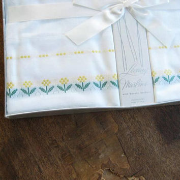 Set of 2 Pillowcases; Dan River 'Luxury Muslins' White Cotton Standard  Cases w/ Yellow/Green Embroidery; Original Gift Box/NOS