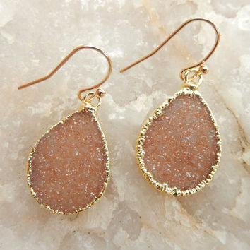 Champagne Druzy Teardrop Earrings 14K Gold Crystal Quartz Dangle Drop Drusy - Free Shipping Jewelry