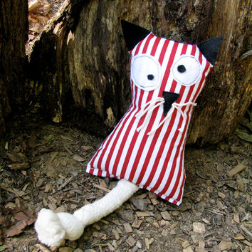 Cat Doll, Swedish Soft Toy Cat, Red and White Stripes / Scandinavian Kitty Toy. CUSTOM REQUESTS. Handmade by studioLISE.