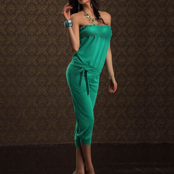 Green Strapless Jumpsuit with Shirring Top
