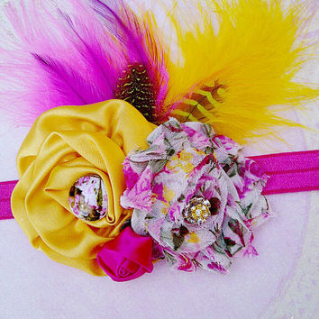 """Baby Girls Spring Feather Headband Pink Yellow Hair Bow Clip """"Vintage Garden"""" Photo Prop"""