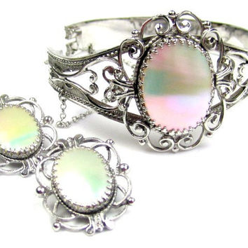 Whiting and Davis, Mother of Pearl, Bangle with Earrings