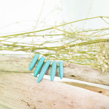 Spiked turquoise necklace