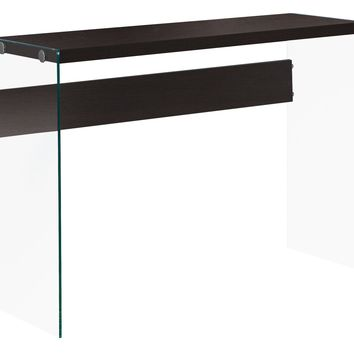 """Accent Table - 44""""L / Cappuccino / Tempered Glass"""