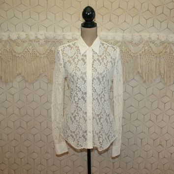 Cream Lace Blouse Sheer Long Sleeve Top Button Up Shirt Medium Ivory Lace Shirt Off White Lace Top Sheer See Through Tops Womens Clothing