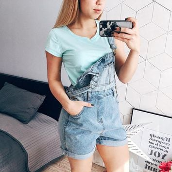 New denim shorts woman fashion elegant summer low waist jeans loose-fitting overalls woman with adjustable straps and pockets