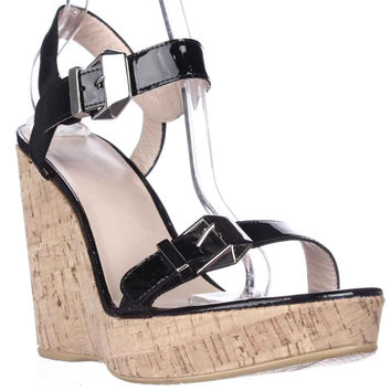 Stuart Weitzman TwoMuch Cork Wedge Sandals, Black Patent, 10 US