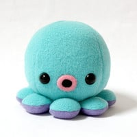 Baby Octopus Plush in Aqua Blue by cheekandstitch on Etsy