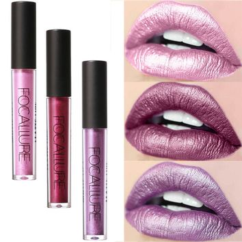 FOCALLURE New Fashion Lipstick Cosmetics Women Sexy Lips Metallic Lip Gloss